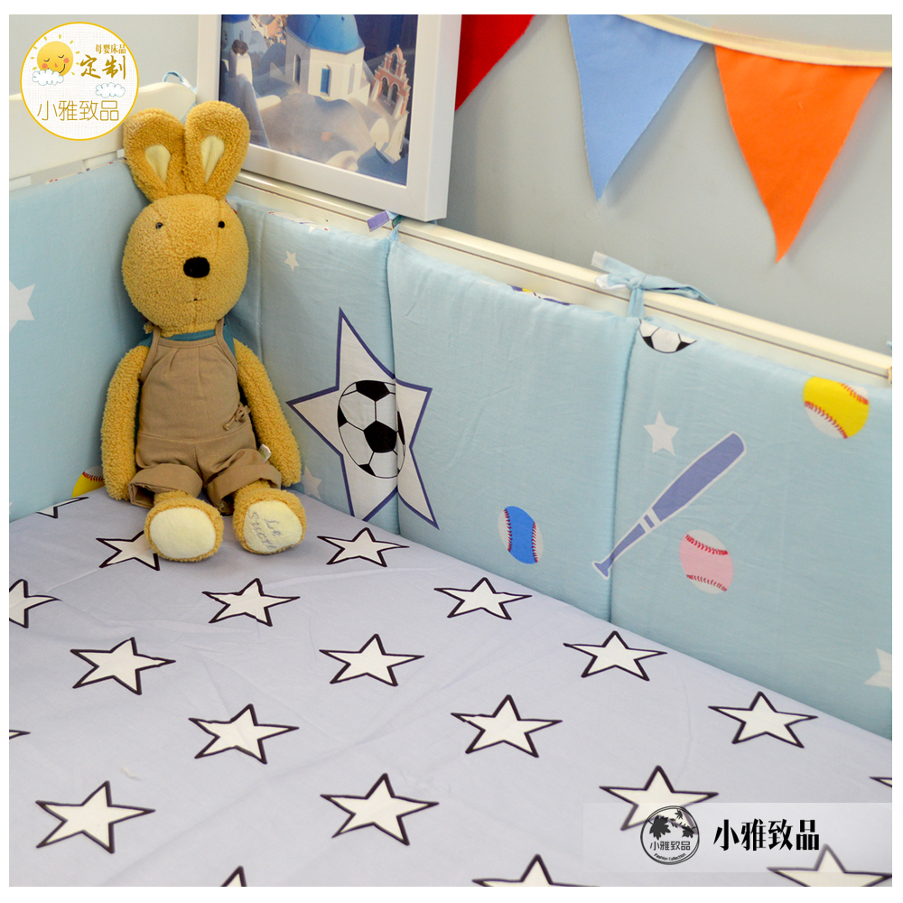 baby bed bumper 3/4pcs crib bumper infant bed around protection bedding set quilt cover sheet blue stars football pattern design 1pcs bumper only fashion hot crib bumper infant bed baby bed bumper grey stars safe protection for baby use infant cradle guard
