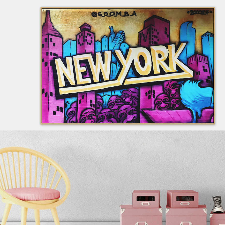 New York City Graffiti Urban Street Art Banksy Canvas Painting Posters and Prints POP Wall Art Pictures Living Room Home Decor