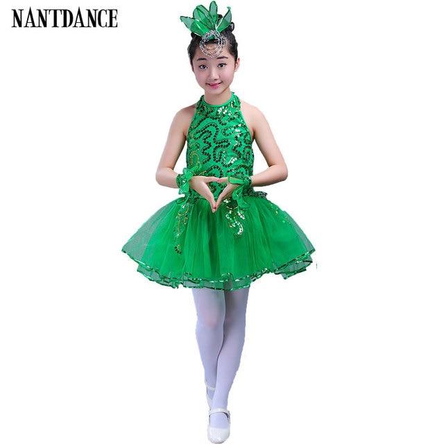 b6939deadc24 Green Girls Ballet Dress For Children Girl Jazz Dance Costumes For ...