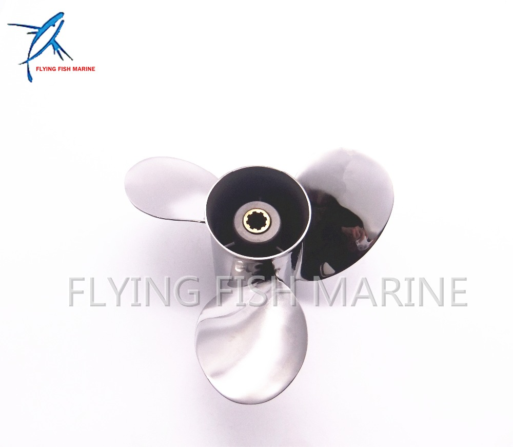 Outboard Engine Stainless Steel Propeller 9 1/4x11-J for Yamaha 9.9HP 15HP 9 1/4 x 11 -J 63V-45943, Fit Hidea Parsun HDX 15hp