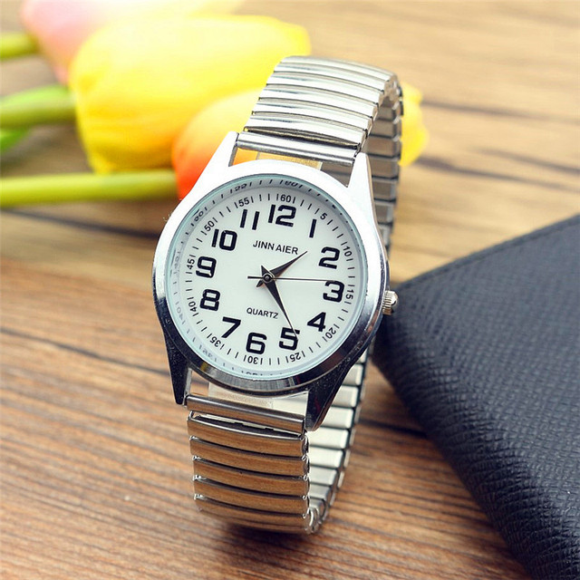 New Fashion old people dress watche men stainless Steel Elastic band Quartz Love