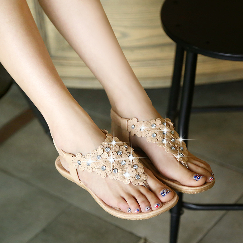 9882099340964 shoes Bohemian summer clip toe shoes pinch flat shoes diamond flower Korean flat  sandals-in Women s Sandals from Shoes on Aliexpress.com
