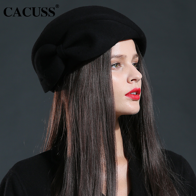 Cacuss brand wool hats winter women elegant lady wool hats bowknot outdoor hats  women high quality 1accede09795