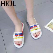 HKJL Slipper lady 2019 summer new thick bottom slipper small and fresh spell color beach shoes A148