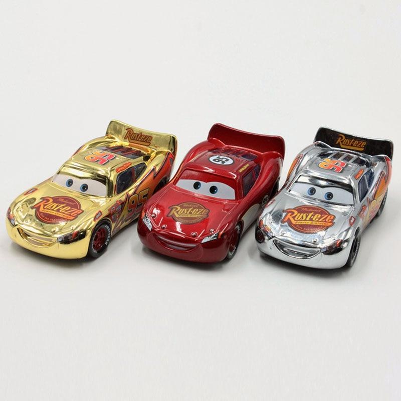 Disney Pixar Cars 3pcs/Lot Plating Gold Silver Lightning Mcqueen 1:55 Scale Diecast Metal Alloy Modle Car Cute Toys For Children