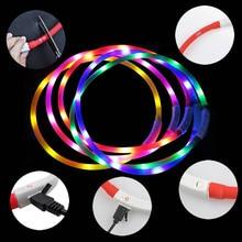 70cm USB Silicone Pets Supplies LED Pet Dog Luminous Collar Adjustable Lighting Glow Dogs Leash Night