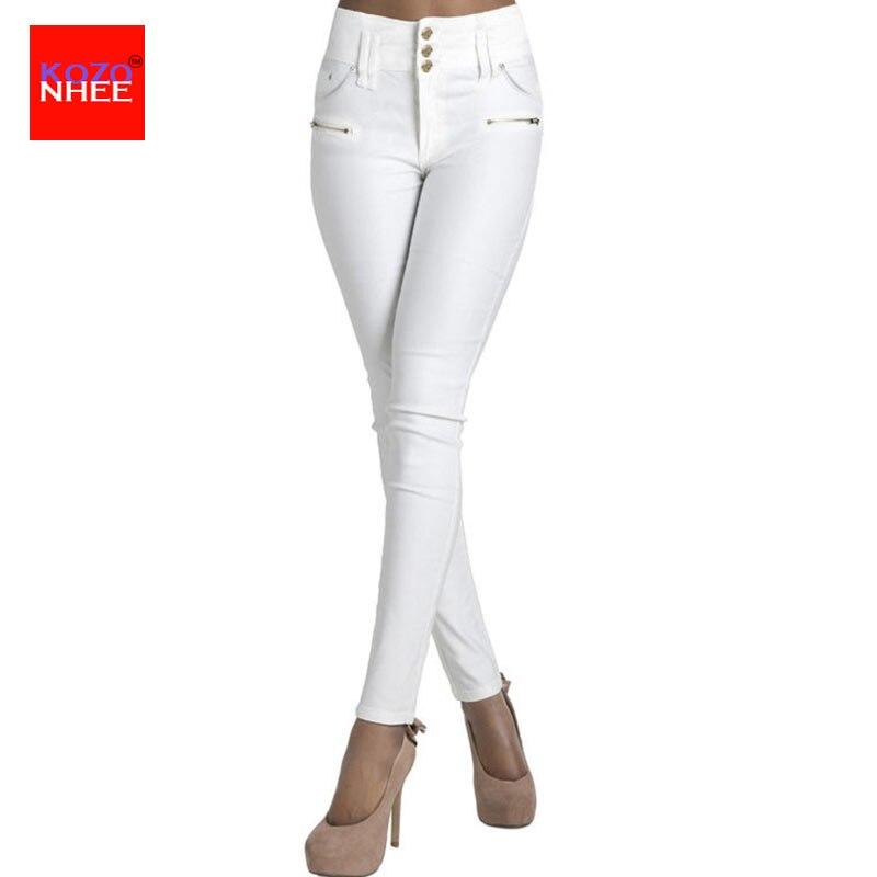 Balti, įtempti džinsai su aukšta juosmens šlaunimi. Liekni džinsai Moteriška mergina, džinsinis elastingas plonas pieštukas Jean