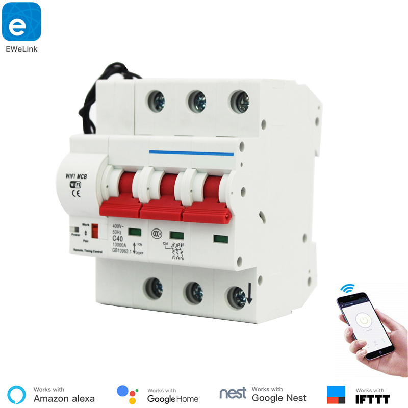 EWeLink 3 P 16A-125A Controle Remoto Wi-fi Disjuntor/interruptor inteligente/Religador automático Inteligente apoio alexa e google