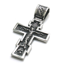 Restock Mens Boys 316L Stainless Steel Silver Newest Jesus Christ Cross Bible Pendant(China)