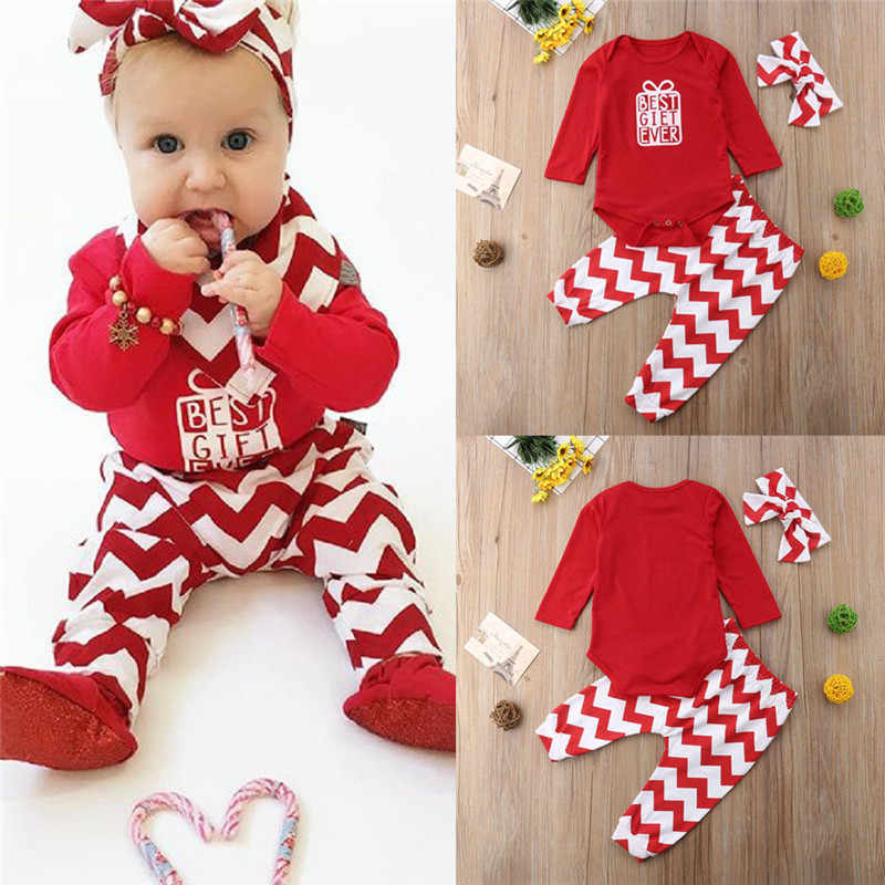 14f72d8dd Navidad 3 piezas recién nacido niños bebés trajes de Navidad Rompers  Jumpsuit pantalones largos conjunto diadema