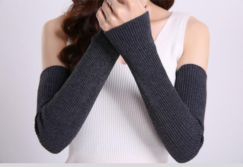 Women's Knitting Woolen Arm Sleeve Long Knitted Mittens Fingerless Gloves Winter Arm Warmers Gift