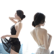 New sexy lingerie hanging neck nightdress temptation clothing transparent hollow set