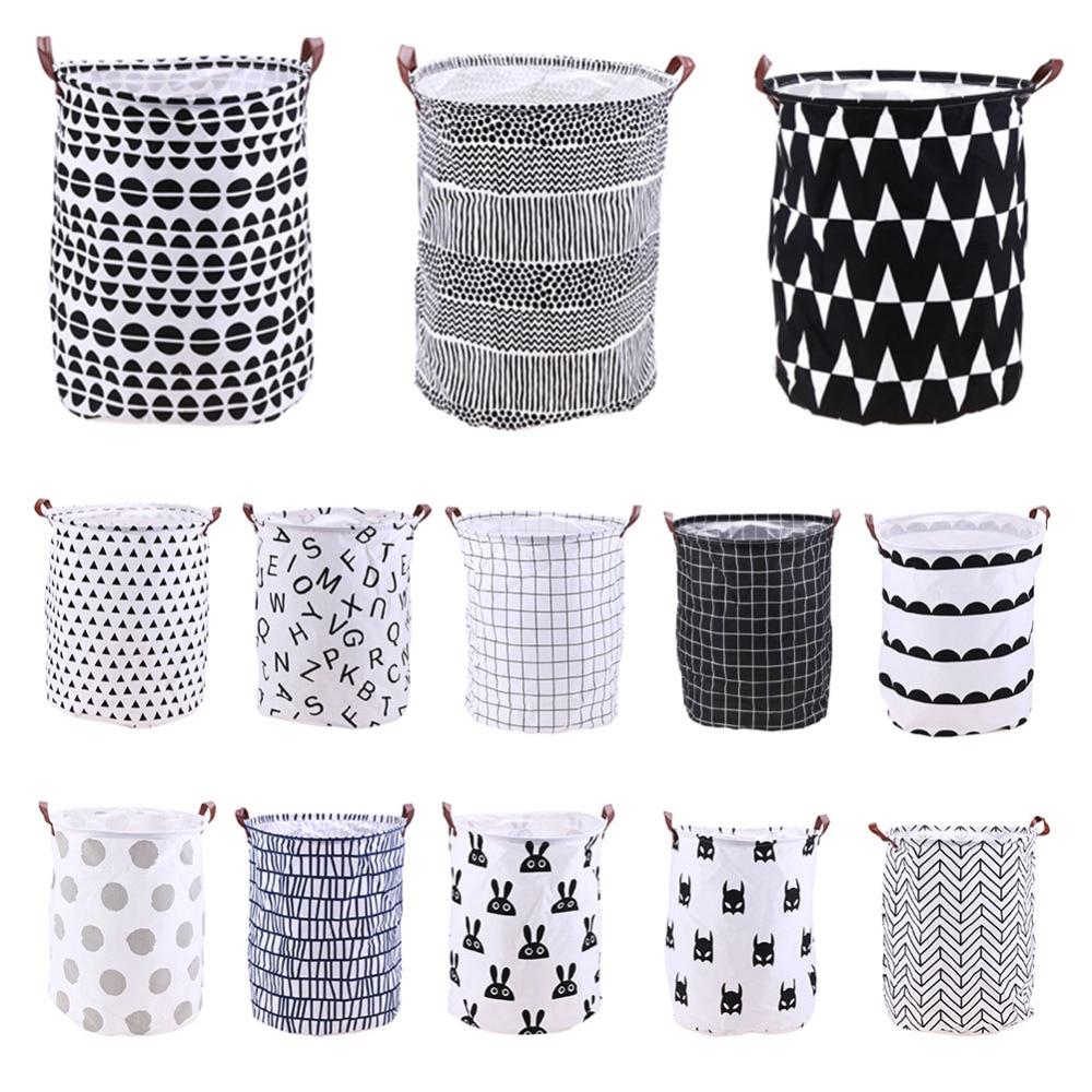 Waterproof Dirty Clothes Storage Basket Barrel Folding Cotton Linen Washing Laundry Basket Storage Laundry Bag Organizer