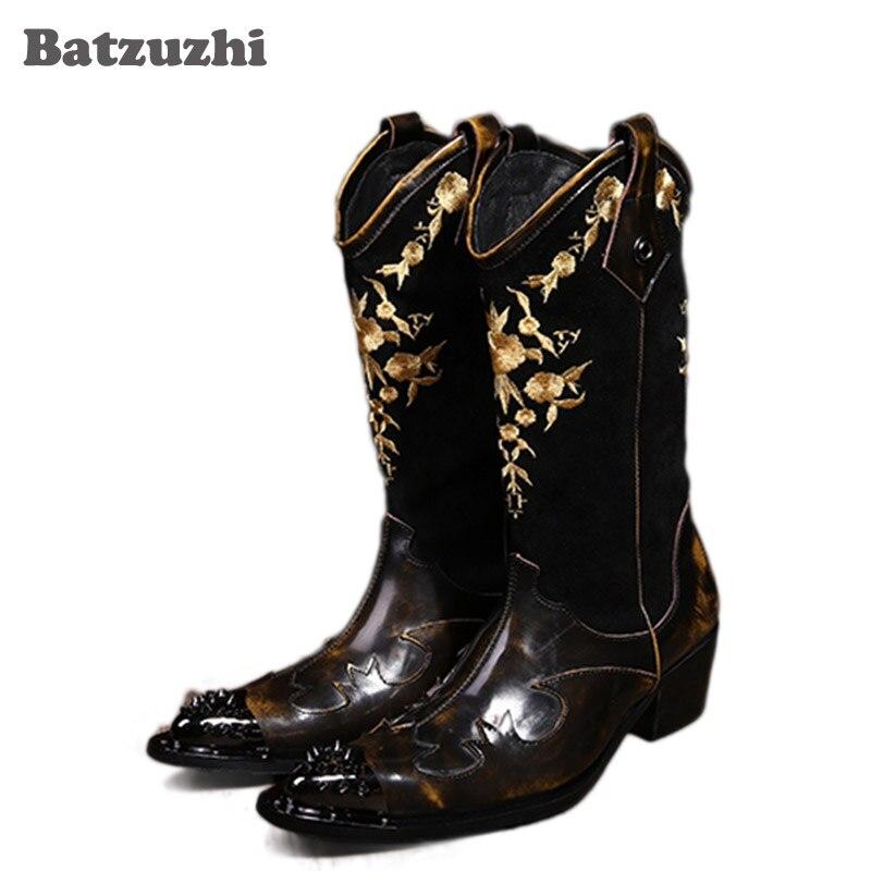 Batzuzhi Супер круто! Рок личности человека рыцарские сапоги мотоциклетные сапоги кожаные ковбойские сапоги для человека, кожаные мужские туфл