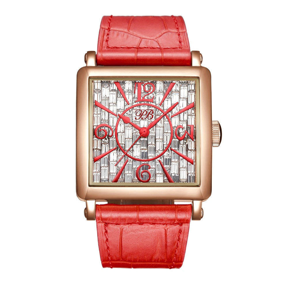 2016 New Famous PB Brand Princess Butterfly Luxury Austrian Crystal Watch Red Lady Sapphire Leather Business Watch