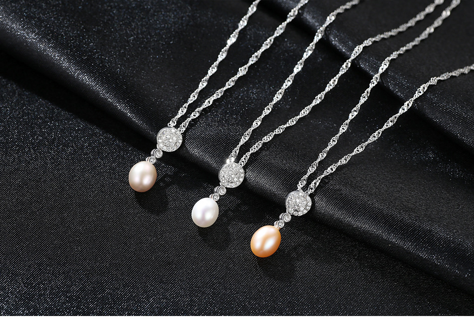 S925 Sterling Silver Necklace Zircon Pendant Natural Freshwater Pearl Accessories FSG02S925 Sterling Silver Necklace Zircon Pendant Natural Freshwater Pearl Accessories FSG02