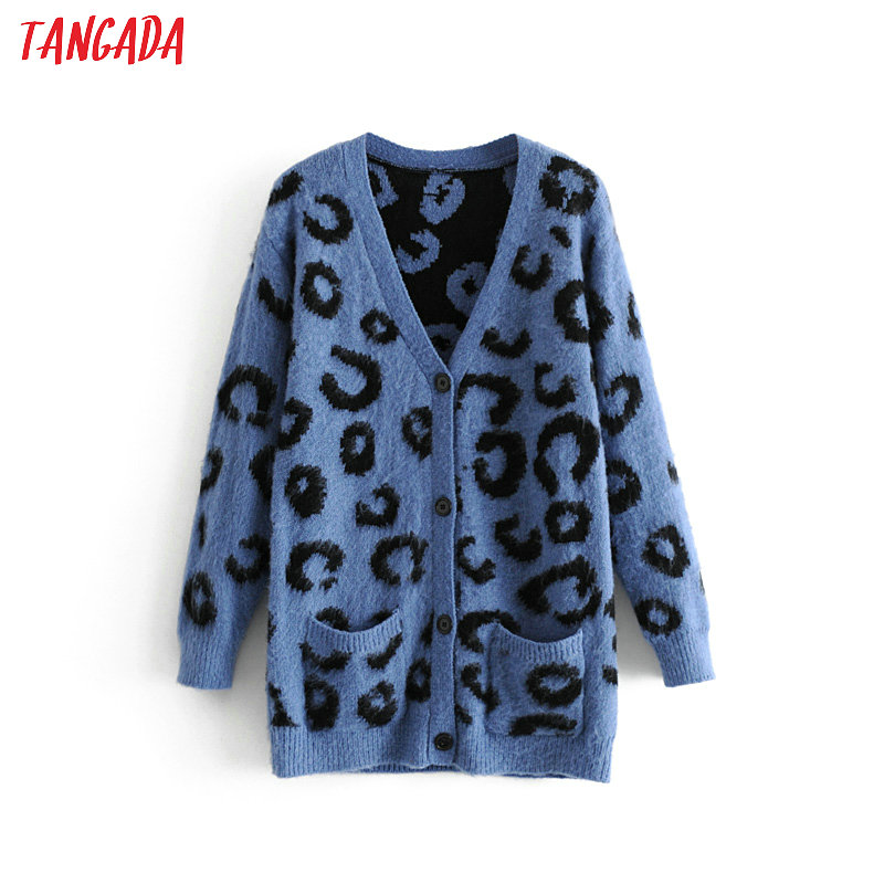 Tangada women blue leopard pattern cardigan thick long knit sweater pocket lady fashion knitted cardigan cozy coat 3H28