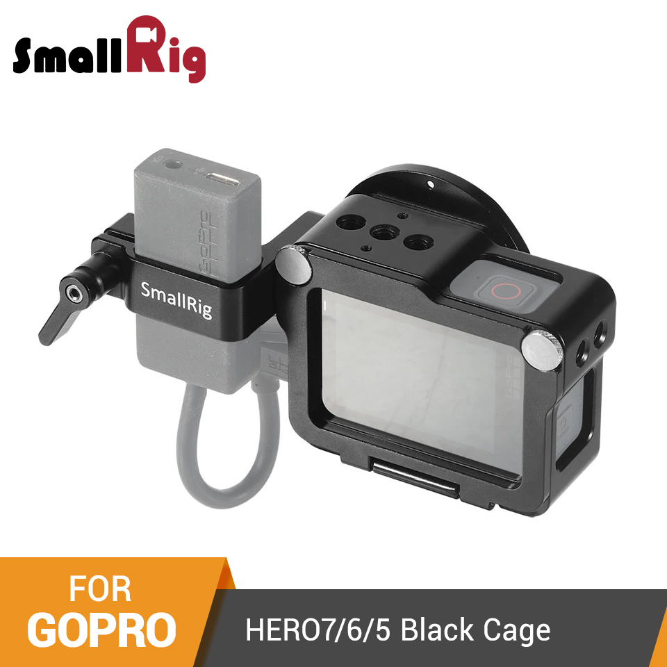 SmallRig Form-fitting Cage For GoPro HERO 7/6/5 Camera Cage With Cold Shoe+52mm Filter Mount+Audio Processor Support -2320