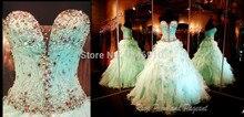 new fashionable vestido de novia casamento bridal gown organza sexy sweetheart crystal ruffles wedding dress 2014 free shipping