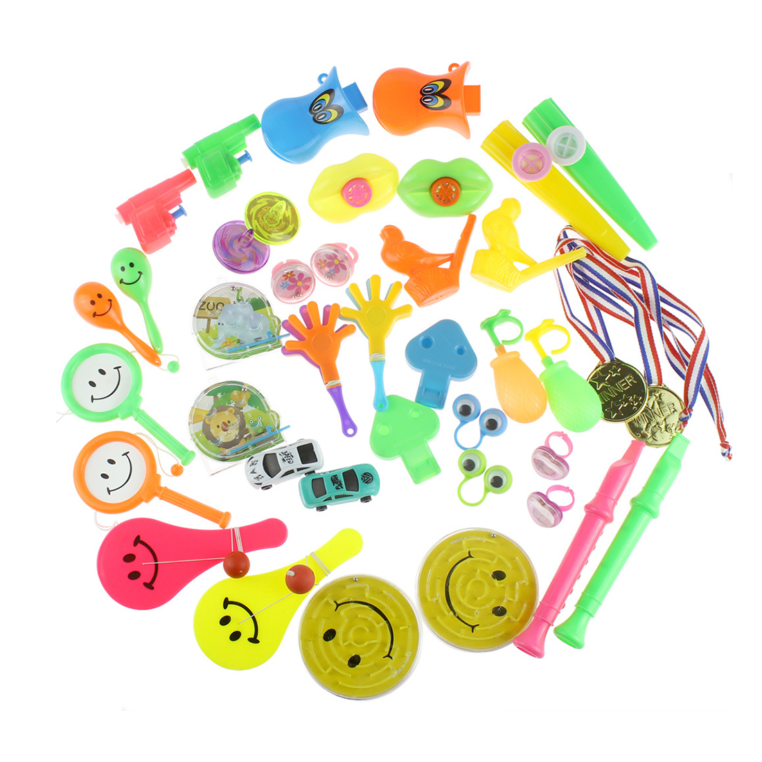 100Pcs 20 Types Children Small Toy Prop Set For Party Mini Cars Whistle Medal Small Hand Clap Panda Smiling Face Shaking Drum