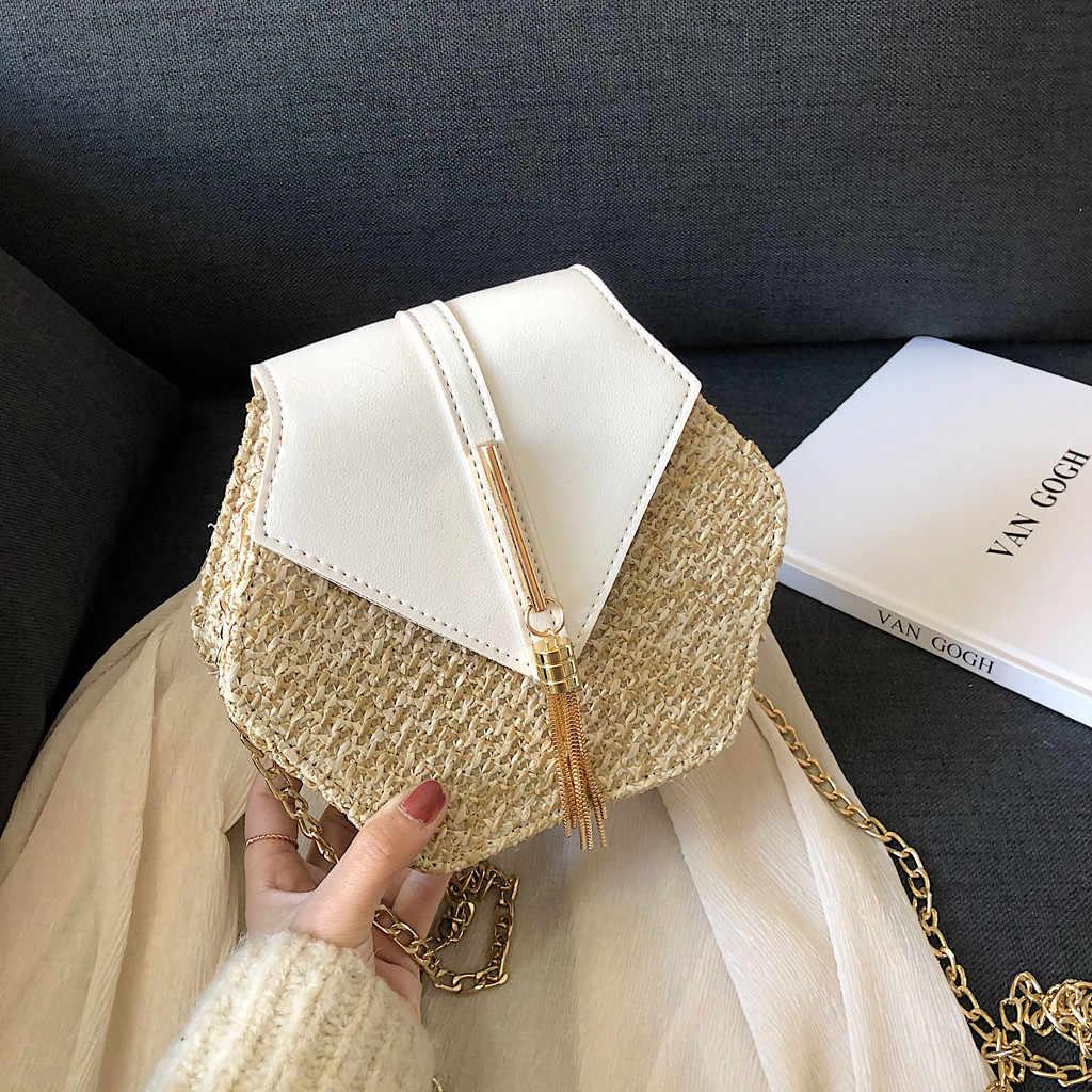 Chapéu de Palha Estilo Mulit + pu Bolsa Bolsas Mulheres Saco Handmade Saco de Tecido bolsa de Praia de Vime Verão Círculo Boemia Bolsa 2019 Nova Moda #3