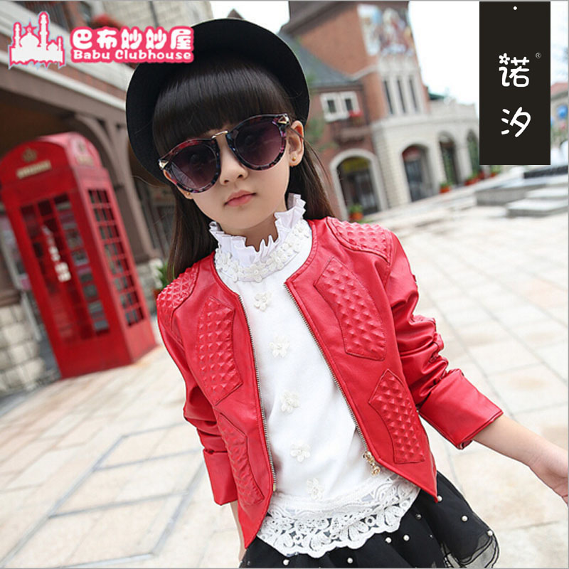 Girls clothes Kids Jacket Girls spring autumn PU Leather Jacket Children Leather Outwear Baby Girl Jackets teenage Coats 4~11 T