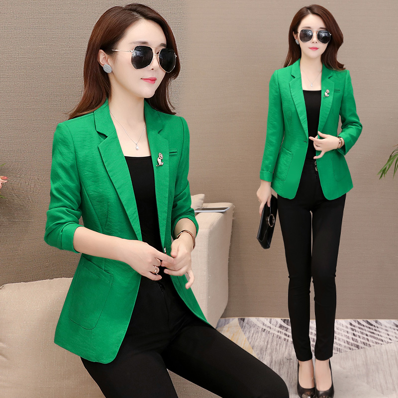 Women's Autumn Small Suit Jacket Female 2019 Spring New Short Fashion Slim Long-sleeved Suit Jacket Female Tide High Quality