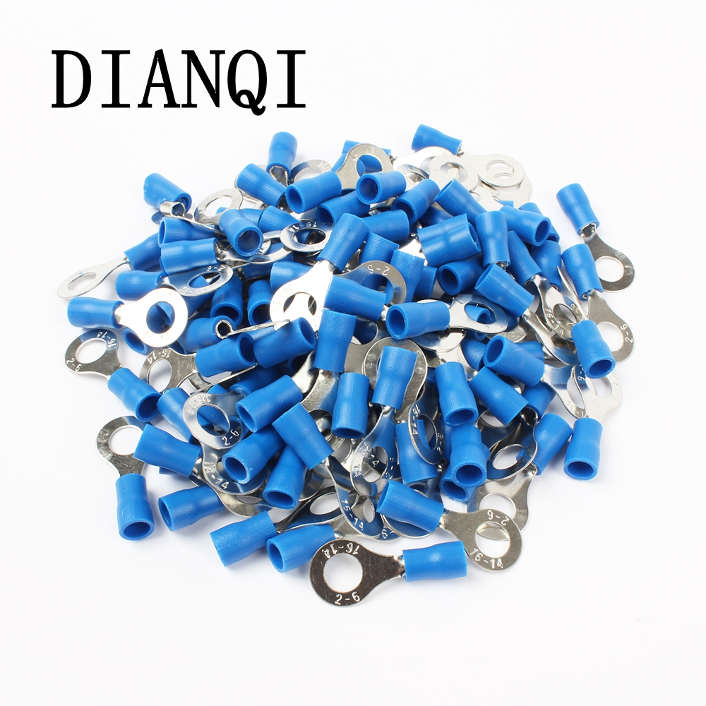 DIANQI RV2-6 Blue Ring insulated terminal Cable Wire Connector 100PCS/Pack suit 1.5-2.5mm Electrical Crimp Terminal RV2.5-6 RV 15pcs a w g 14 6 copper cable lug tube wire crimp terminal ring connector 88a