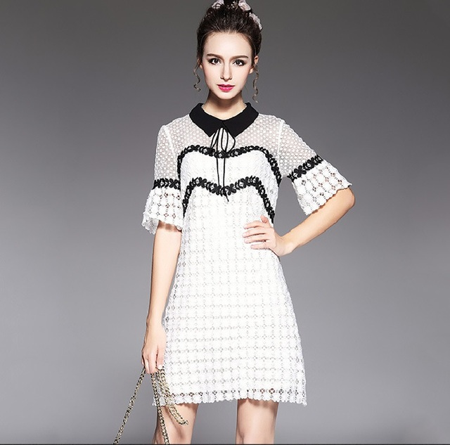 1006d662c8614 NEW 2017 Summer Fashion Laidies flare sleeves Lace Dress turn down collar  elegant dress female vestidos plus size L-XXXXXL 5532