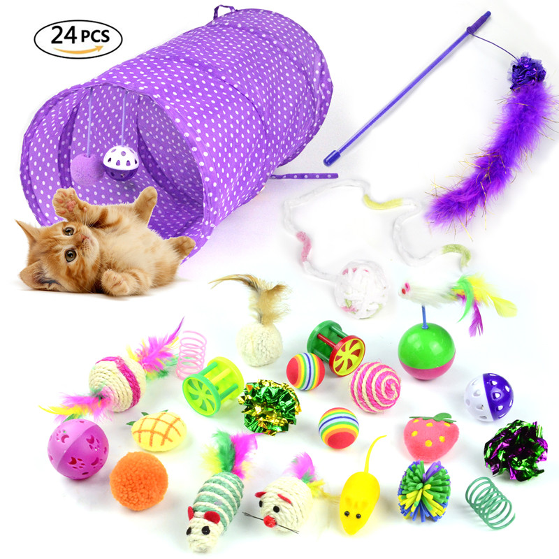 Cat Toy 24pcs/set Pet Kit Collapsible Tunnel Cat Toy Fun Bell Feather Mice Shape Pet Kitten Dog Cat Interactive Play Supplies
