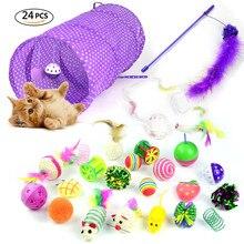 Кот Игрушка 24 шт./компл. животное комплект складной туннель Кот игрушка забавный звонок перо в форме мыши питомец котенок с рисунком собачки и котика интерактивные игровые принадлежности