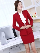 New Formal Uniform Styles Elegant Red 2015 Autumn Winter Business Women Work Suit Jackets And Skirt