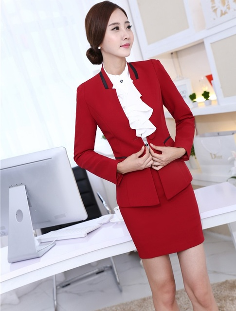 New Formal Uniform Styles Elegant Red 2015 Autumn Winter Business Women Work Suit Jackets And Skirt Ladies Office Career Blazers