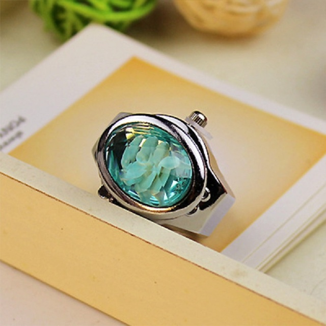 Fashion Women Ring Watch Elliptical Stereo Flower Ladies Clamshell Watches Adjustable Rings Quartz Watches LL@17