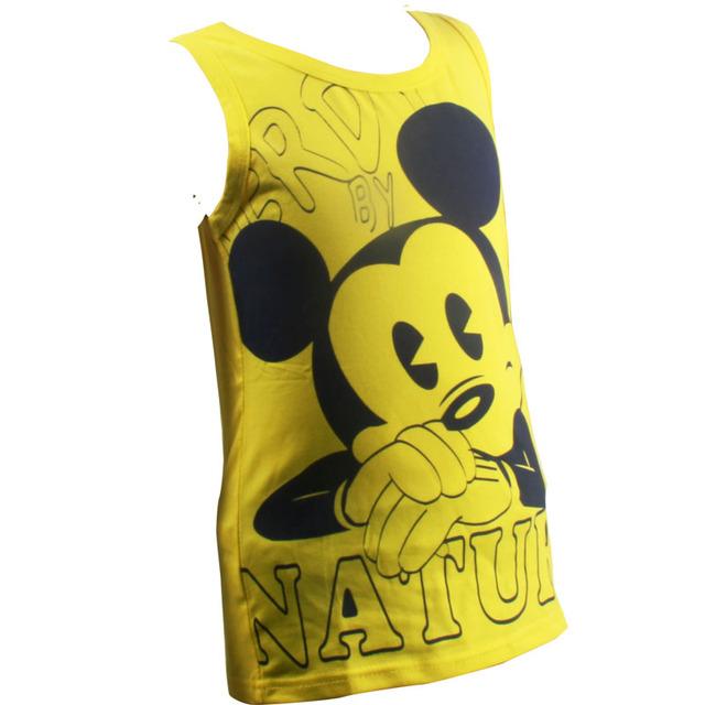 100% Algodón Camiseta de Los Muchachos Niños Sin Mangas Minnie Verano Camisa Del Muchacho de la Camiseta Muchachos de la Ropa Del O-cuello de Impresión de Los Muchachos Ocasionales Ropa