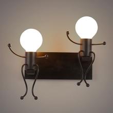 купить personality stair wrought iron robot wall light Nordic retro creative E27 wall lamp for children bedroom decoration bedside дешево
