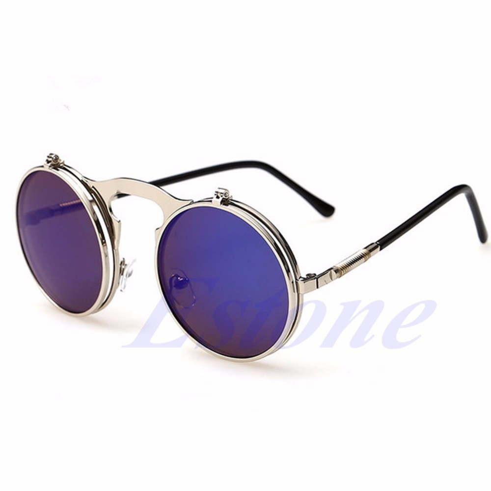 NEW Men Women Vintage Round Metal Frame Flip Up Sunglasses ...
