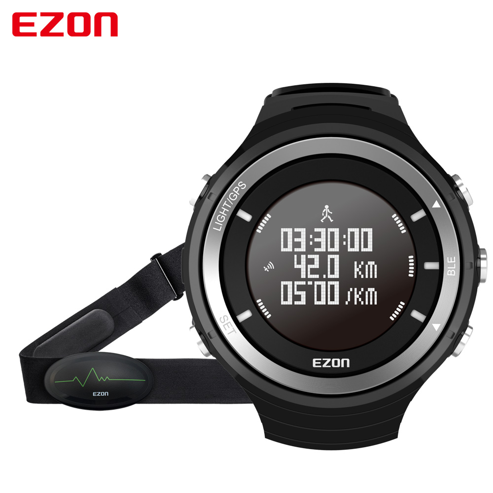 EZON T033 Heart Rate Monitor Sport Fitness Watch Bluetooth GPS Tracker Pedometer Altimeter Barometer Wristwatch With Chest Strap pedometer heart rate monitor calories counter led digital sports watch fitness for men women outdoor military wristwatches