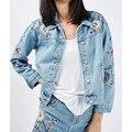 Autumn Women Floral Embroidery Denim Jacket Lapel long Sleeve Single breasted Short Jackets outerwear Brand spijkerjasje SDP8117