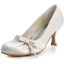 A0756 Ivory White Круглого Toe Mid Каблуки Лук Атласная Невесты Bridesmaids Выпускного Вечера Насосы Женщина Комфорт Свадьба Свадебная Обувь