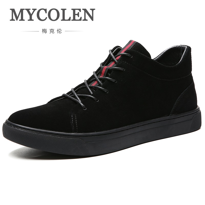 MYCOLEN Men's Keep Spring/Autumn Short Boots Casual Shoes Men Fashion Trend Black Ankle Lace Up Round Toe High Top Boots xiaguocai spring autumn high top men shoes fashion canvas men s casual shoes lace up flat ankle boots for male
