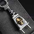 Unique Design Silver Socket Plug With Gold Skull 316L Stainless Steel Pendant Necklace Cycle Male Jewelry Free Box Chain 60cm