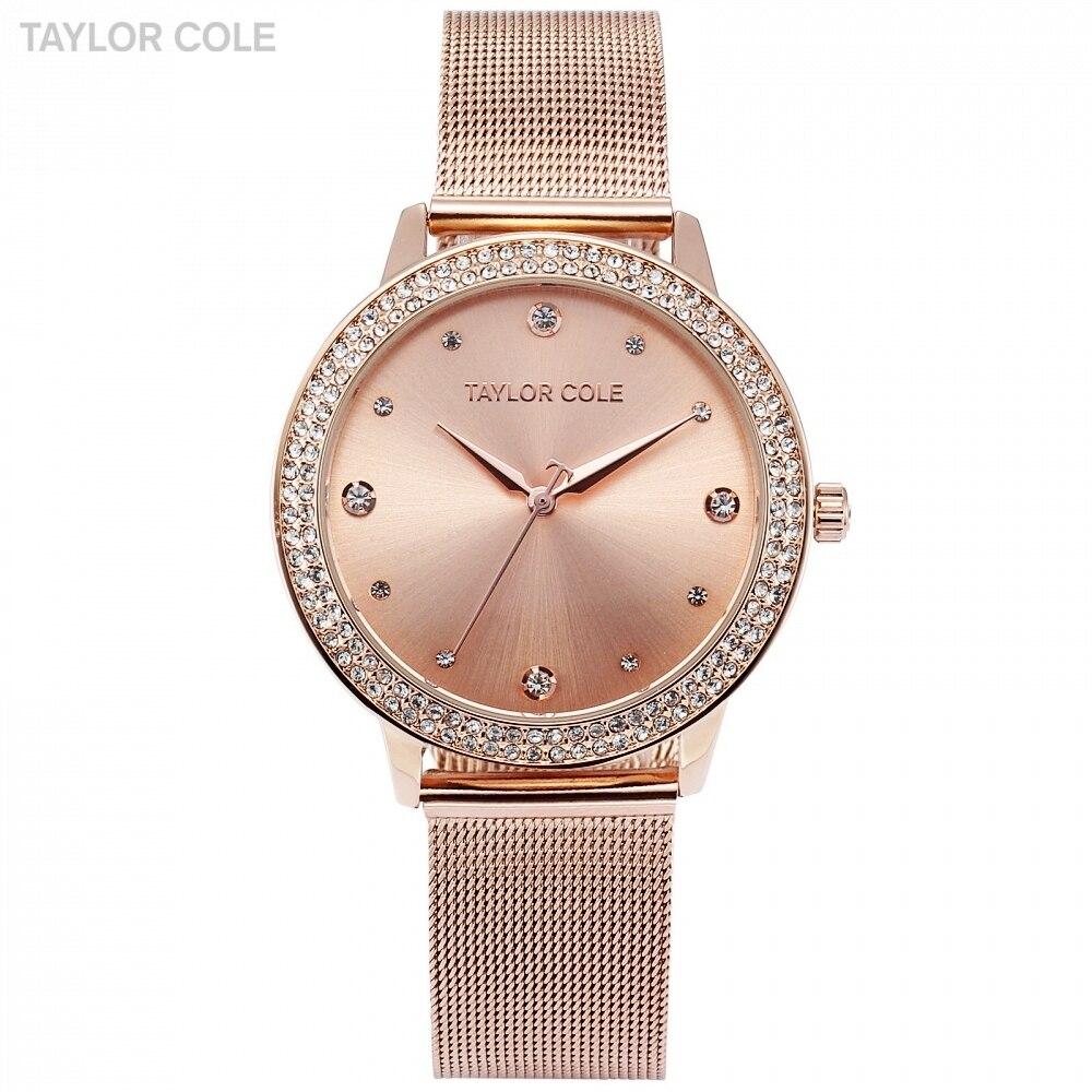 Cole Taylor Marca Moda Quartz Watch Rose Gold Pulseira Reloj Mujer Relogio feminino Mulheres Vestido de relógio de Pulso Banda de Aço/TC071