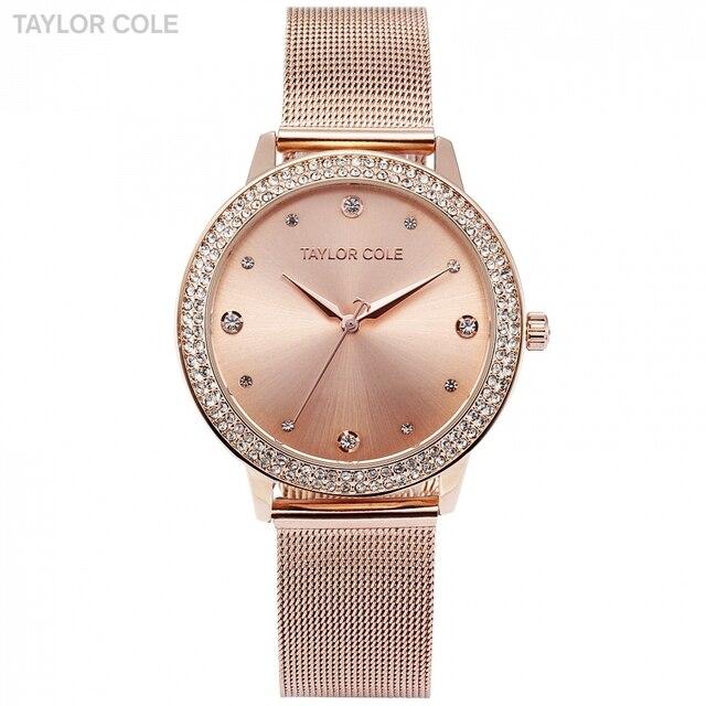 ae30107ec Cole Taylor Marca Moda Quartz Watch Rose Gold Pulseira Reloj Mujer Relogio  feminino Mulheres Vestido de