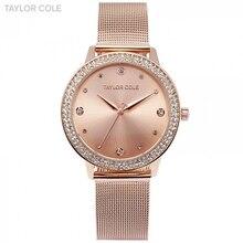 Тейлор Cole Brand Мода кварцевые часы из розового золота Relogio feminino Для женщин наручные часы платье Сталь браслет Reloj Mujer/tc071