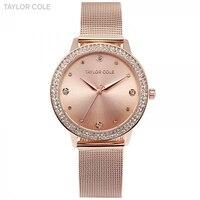 Taylor Cole Fashion Slim Crystal Rose Gold Relogio Feminino Quartz Steel Band Bracelet Jewelry Women Ladies