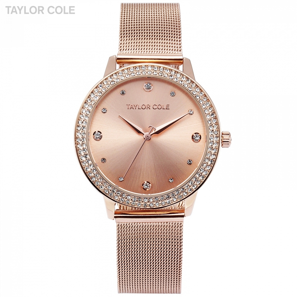 Taylor Cole marque de mode montre à Quartz or Rose Relogio Feminino femmes montre-Bracelet robe en acier bande Bracelet Reloj Mujer/TC071