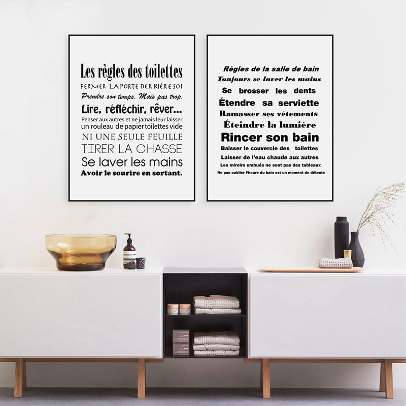 263 20 De Réductionfrançais Salle De Bains Règles Citation Toile Art Imprimer Moderne Noir Et Blanc Minimaliste Toile Affiche France Toilette