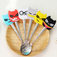 Fashion Cartoon Silicone Handles Kitty Modeling Stainless Steel Tea Coffee Spoon Kitchen Tableware Action Figure Model Toys