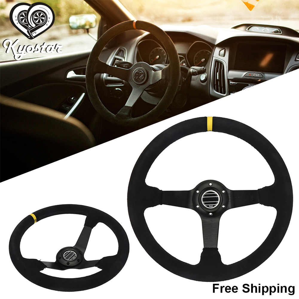 350mm 14 Inch Deep Corn Dish Car Sports Suede Steering Wheel Leather Race Steering Wheel